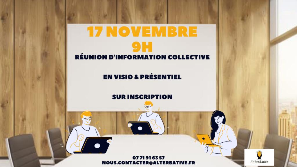 Réunion d'information collective à Poitiers en visio & en présentiel @ 12 rue Eugène Chevreul 86000 Poitiers